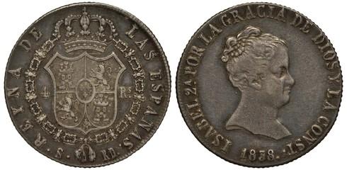 Spain, Spanish coin four reales 1837, shield within collar of the order, crown on top, Queen Isabella head right, silver,