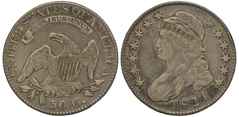 United States coin half dollar 1824, American eagle, olive branch and arrows, shield on breast, Liberty head left, cap, stars, silver