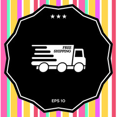 Express delivery icon. Delivery car with an inscription Free shipping.
