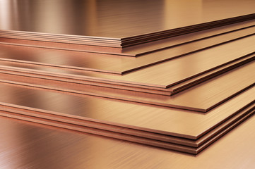 Copper sheets. Rolled metal products, close-up. 3d illustration.