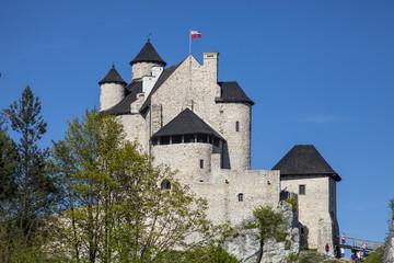 BOBOLICE, POLAND - APRIL 28, 2018:Ruins of a Gothic castle in Bobolice, Poland. Castle in the village of Bobolice, Jura Krakowsko-Czestochowska. Castle in eagle nests style.