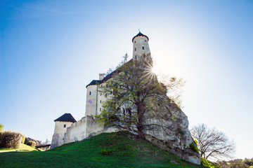 Ruins of a Gothic castle and hotel in Bobolice, Poland. Castle in the village of Bobolice, Jura Krakowsko-Czestochowska. Castle in eagle nests style. Built during the reign of  Kazimierz Wielki.
