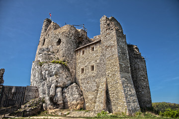 Ruins of the castle in Mirow next to castel in Bobolice. Castle in the village of Mirow. The Trail of the Eagles' Nests in Poland.