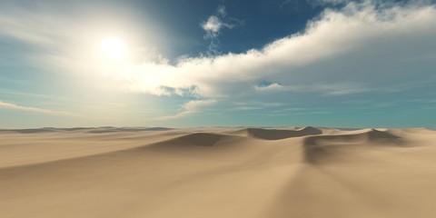 desert at sunset, sand and sun, sandy desert under the sky,