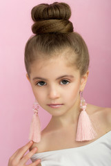 Closeup portrait of glamour little girl with beautiful visage