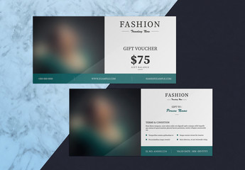 Gift Voucher Layout with Dark Green Accents