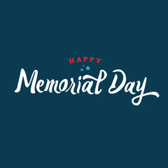 Happy Memorial Day Holiday Vector Text Illustration with Stars Over Dark Blue Background