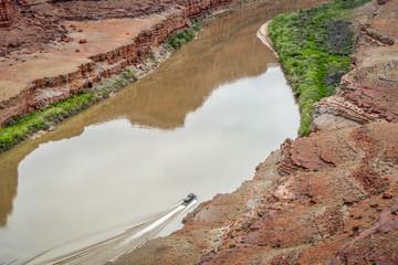 jetboat transporting kayaks upstream of Colorado River