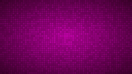 Abstract background of small circles or pixels in purple colors.