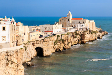 Italy, Foggia, Apulia, SE Italy, Gargano National Park,  Vieste. Old town of Vieste cityscape with medieval church at the tip of the peninsula of this fishing village in Gargano, Apulia, Italy.