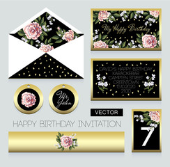 Invitation to birthday party, an envelope, a room number for a table and others. Design with pink roses