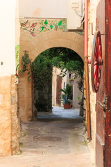 Italy, Foggia, Apulia, SE Italy, Gargano National Park, Vieste. Old city, pedestrian arched pathways, streets.