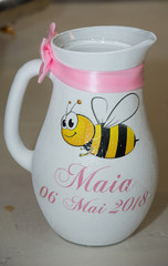 Accessories for baptism ,white vase with bee