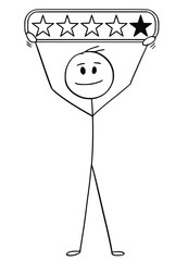 Cartoon stick man drawing conceptual illustration of smilimg businessman holding four stars of five rating.