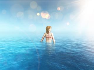 3D female image in a tropical sea