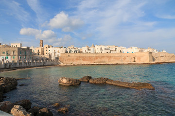 Italy, SE Italy,  province of Bari, region of Apulia, Monopoli. City scape, harbor, walled city, Cathedral.