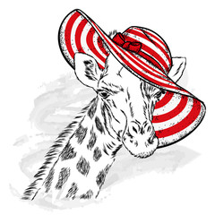 Funny giraffe in a beach hat and glasses. Animal in clothes and accessories. Hipster. Vector illustration.