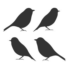 Bird icon set, black isolated on white background, vector illustration.