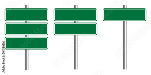 """Blank traffic road sign set, empty street signs, green ..."