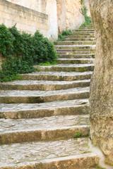 Italy, Southern Italy, Region of Basilicata, Province of Matera, Matera. Stone stairway.