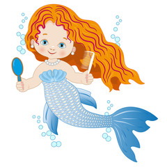A small mermaid with a mirror and a comb