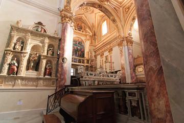 Italy, Region of Basilicata, Matera.Duomo di Matera; Cattedrale di Santa Maria della Bruna e di Sant'Eustachio.The cathedral built in Apulian Romanesque style, 13th century. interior.