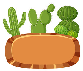 Mexican Cactus Banner on White Background