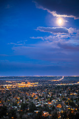 Beautiful Boulder Colorado seen at night from above with many lights across the city