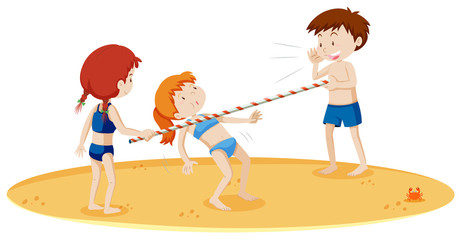 Teenagers Doing Limbo Dance at the Beach
