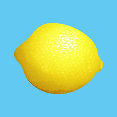Yellow Lemon on Blue Background
