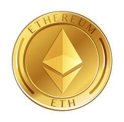 Ethereum Coin on White Background