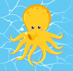 Cute Octopus on Water Background