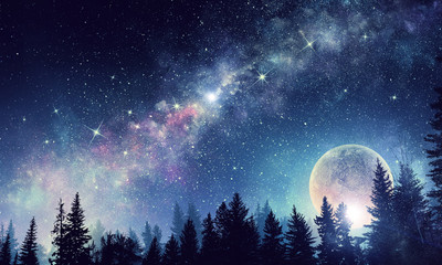 Obraz Full moon in night starry sky - fototapety do salonu