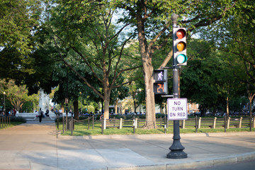 Street lamp and No Turn on Red Sign with walk signal