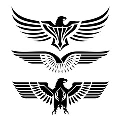 Eagle Head Fly Logo Black Icon Tattoo Vector Illustration