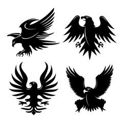 Eagle Head Fly Logo Black Icon Tattoo Vector Illustration