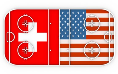Switzerland vs USA. Ice hockey competition. National flags on playground. 3D rendering