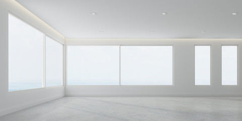 3D rendering of white room space with interior lighting and sun light cast the window shadow on the wall and floor,Perspective of minimal design architecture