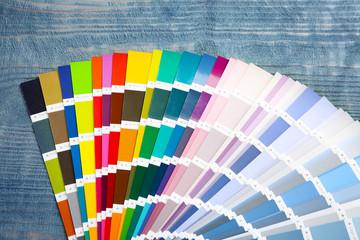 Color palette samples on wooden background