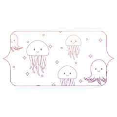 banner with jellyfish and octopus pattern, vector illustration