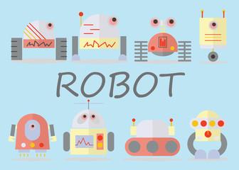 cute robot set vector