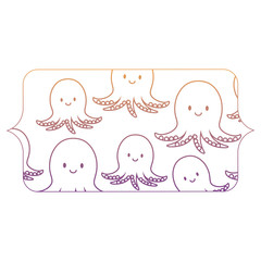 banner with cute octopus pattern over white background, vector illustration