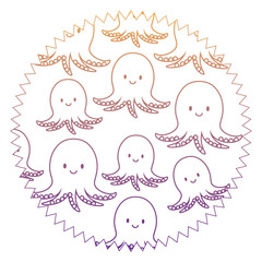 seal stamp with cute octopus pattern over white background, vector illustration