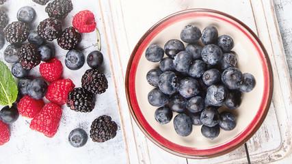 Fresh berries mix in bowl