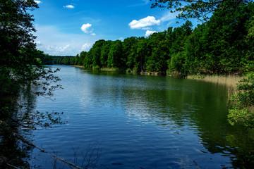Krumme Lanke lake in the Grunewald Berlin on a sunny day