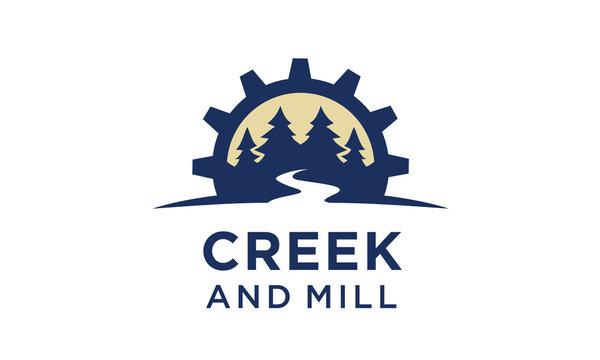 River Creek Wheel Gear Mill Cog, Fir Pines Evergreen Forest Nature logo design