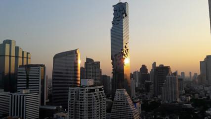 A city after sunset