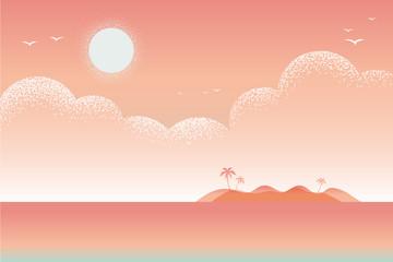 Beautiful seascape beach Vector texture style illustration.