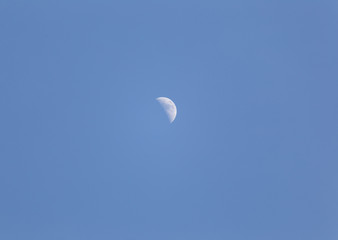 Half Moon in Blue Daytime Sky