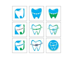 dent dental dentist clinic care image vector icon logo set